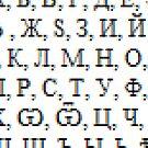 А, Б, В, Г, Д, Е, Э, Ѣ , Ж, Ѕ, З, И, Й , І, К, Л, М, Н, О, П, Р, С, Т, У, Ф, Х, Ѡ, Ѿ, Ц, Ч, Ш, Щ, Ъ, Ы, Ь, Ѣ, Ю, Я, Ѧ, Ѯ, Ѱ, Ѳ, Ѵ, Ѫ by znamenski