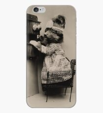 Hello. Anybody there? Puppy dressed as lady making a phone call while standing on a chair iPhone Case