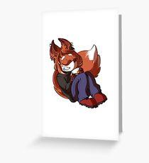Little Fox Furry having tea Greeting Card