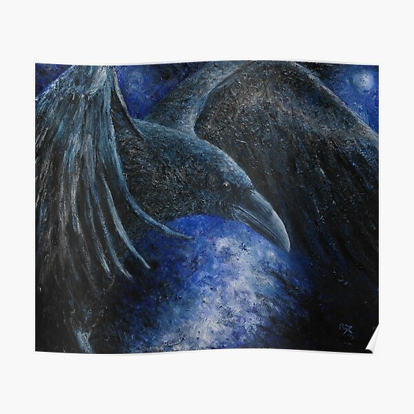 Raven (indigo) Poster