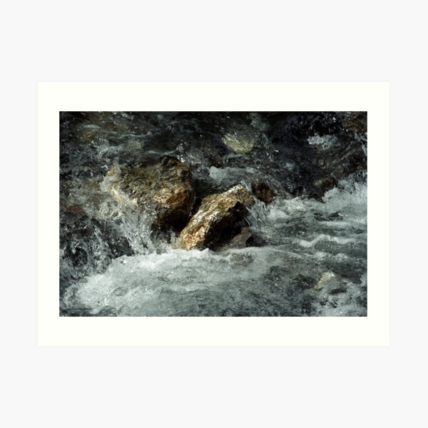 Weisse Lütschine: How long can a stone resist all that water? Art Print