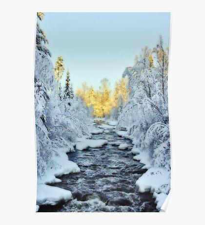 Wintery Stream Poster