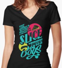 The World Famous Slice Town Boys PJ257 New Product Women's Fitted V-Neck T-Shirt