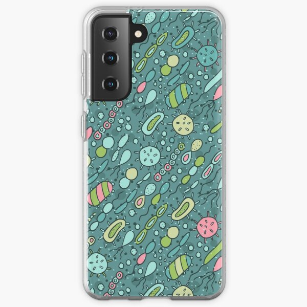 Microbes pattern. Bacteria design for biology lovers. Samsung Galaxy Soft Case