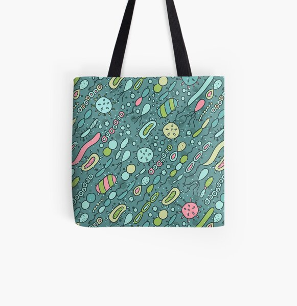 Microbes pattern. Bacteria design for biology lovers. All Over Print Tote Bag