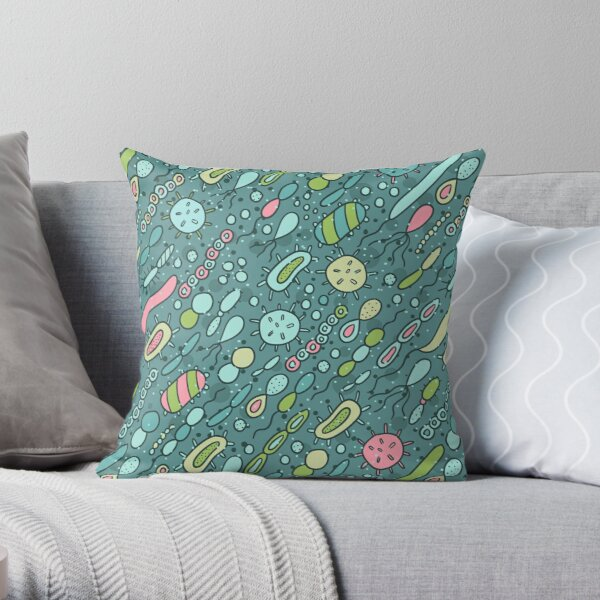 Microbes pattern. Bacteria design for biology lovers. Throw Pillow