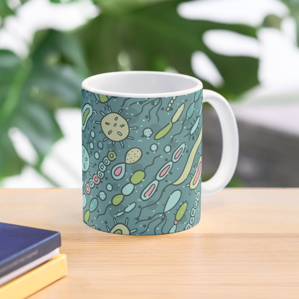 Microbes pattern. Bacteria design for biology lovers. Mug