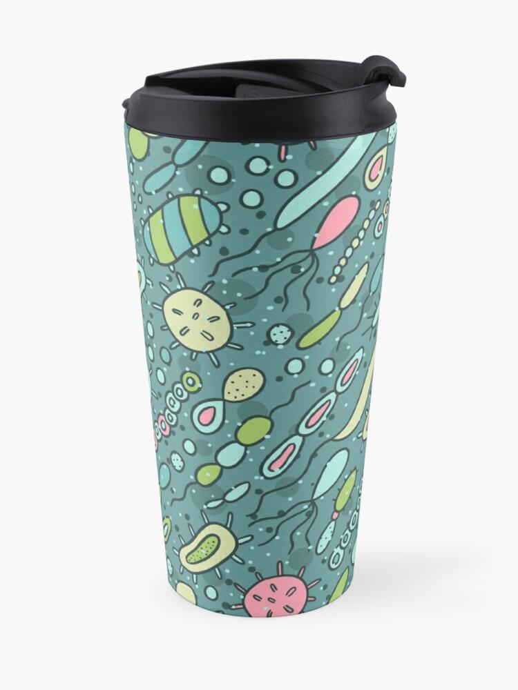 Alternate view of Microbes pattern. Bacteria design for biology lovers. Virus illustration. Travel Mug