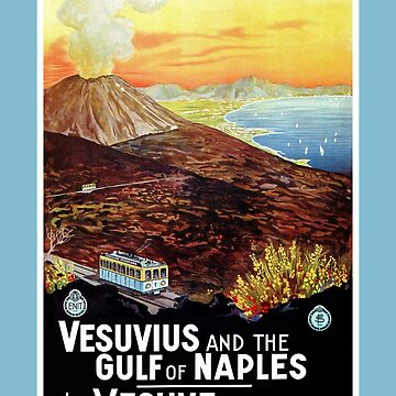 Vesuvius and Gulf of Naples, tram, vintage Italian travel ad by aapshop