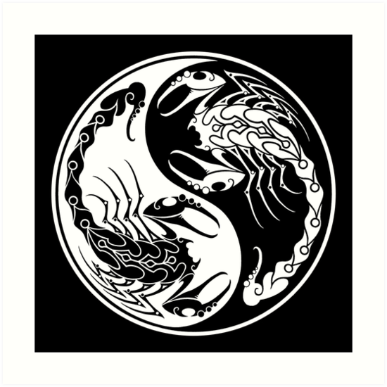 White and black scorpions yin yang by jeff bartels
