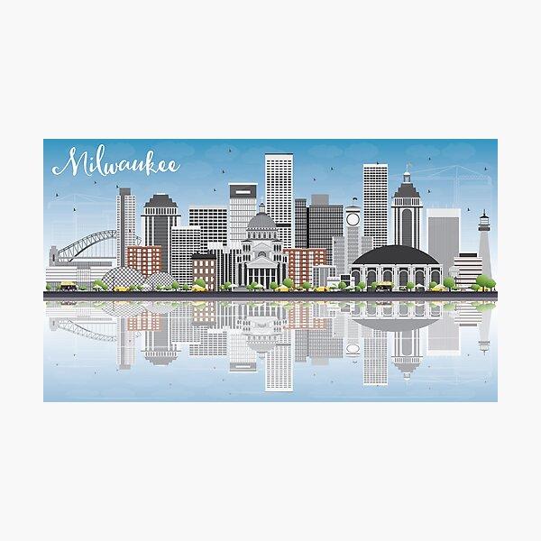 Milwaukee - Grey Skyline Photographic Print