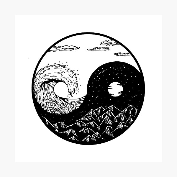 Wave and mountains Ying-Yang Photographic Print