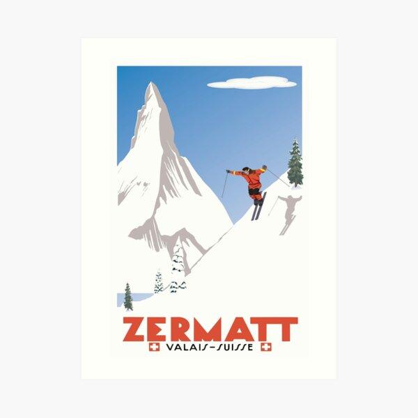 Zermatt, Valais, Switzerland,Ski Poster Art Print