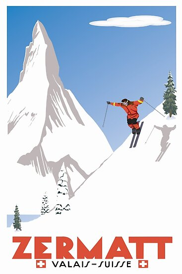 «Zermatt, Valais, Suiza, cartel de esquí» de BokeeLee