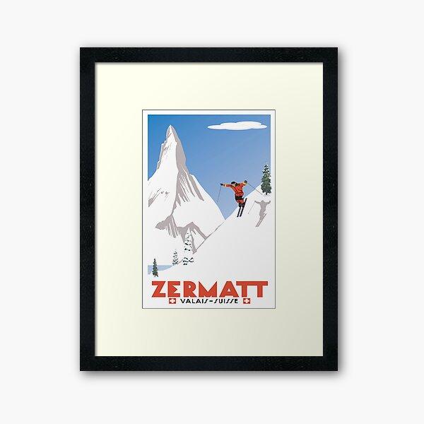 Zermatt, Valais, Switzerland,Ski Poster Framed Art Print