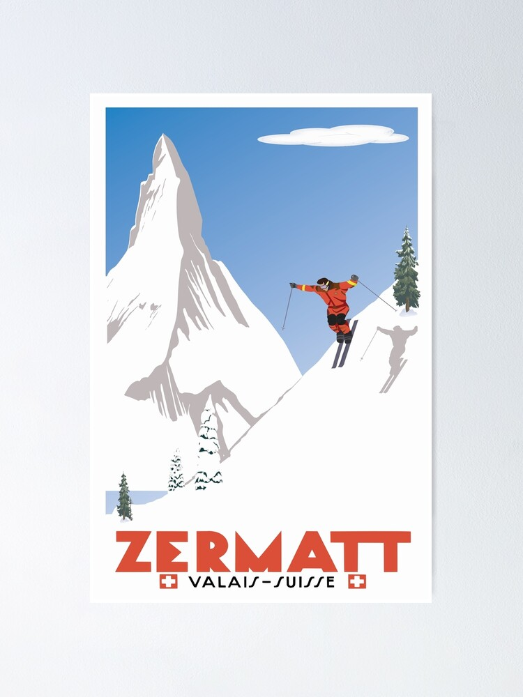 Alternate view of Zermatt, Valais, Switzerland,Ski Poster Poster