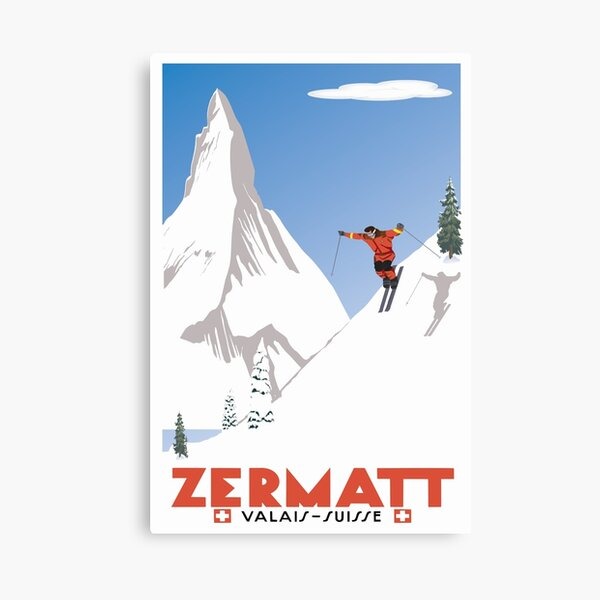 Zermatt, Valais, Switzerland,Ski Poster Canvas Print