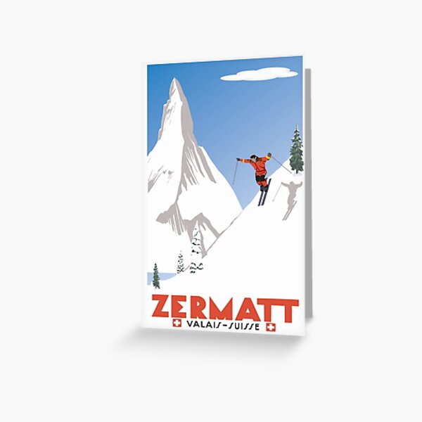 Zermatt, Valais, Switzerland,Ski Poster Greeting Card