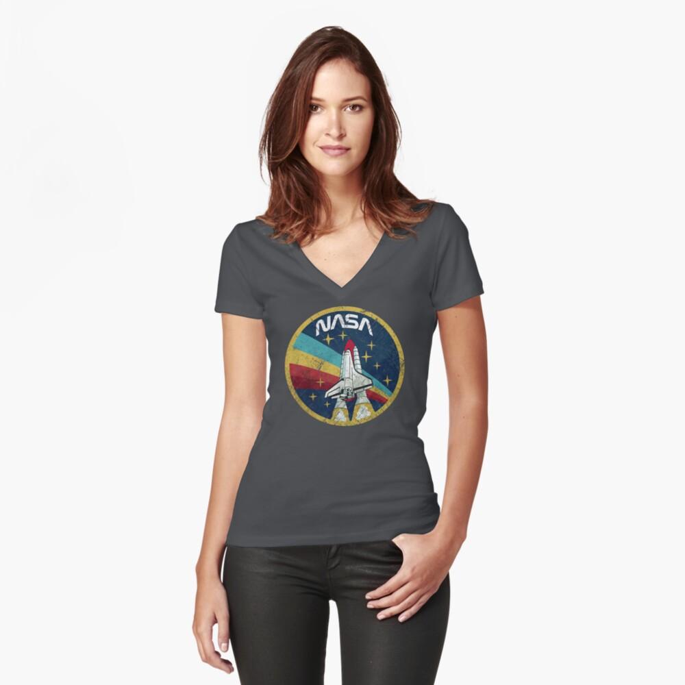 Nasa Vintage Colors V01 Fitted V-Neck T-Shirt