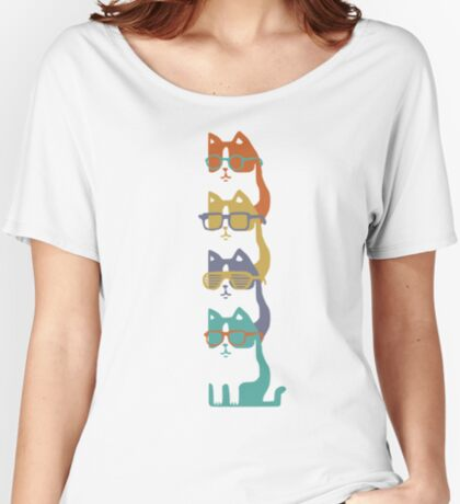 Colorful Cats In Glasses Stack Relaxed Fit T-Shirt