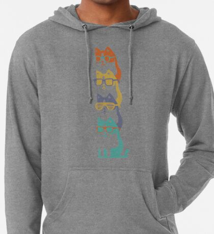 Colorful Cats In Glasses Stack Lightweight Hoodie