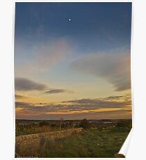 sunset with the moon Poster