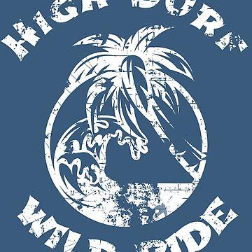High Surf Wild Ride Distressed Vintage Wave Design by TheKitch