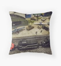 Scale Model Trains, Scale Model Airplanes, Greenberg's Train and Toy Show, Edison, New Jersey  Throw Pillow