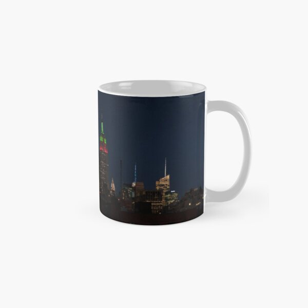 Empire State Building in Red and Green Classic Mug