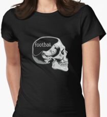 Funny Football on the Mind Sport Lover Skull T-Shirt Women's Fitted T-Shirt