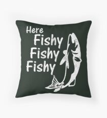Funny Fishing Here Fishy Humor Fisherman Gift Idea Floor Pillow
