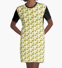 Antikes Moos gelbe Herzen T-Shirt Kleid