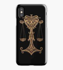 Rustic Libra Zodiac Sign on Black iPhone Case/Skin