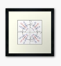Trigonometry: angles in degrees, angles in radians, cosines of angles, sines of angles Framed Print