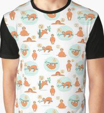 Cute cartoon sloth pattern Graphic T-Shirt