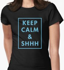 Keep Calm And Shhh (blue) Women's Fitted T-Shirt