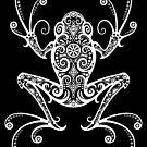 Komplizierter weißer und schwarzer Baum-Frosch von jeff bartels