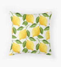 Watercolor Lemon Pattern Throw Pillow