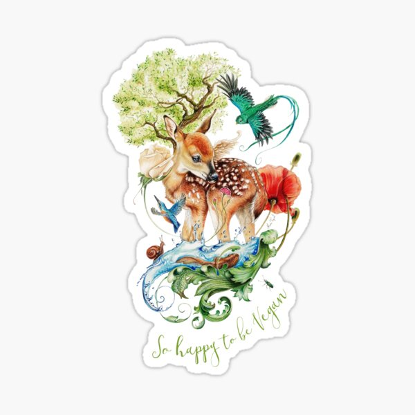 Cute vegan deer by Maria Tiqwah Sticker