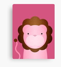 Peekaboo Pink Lion Canvas Print