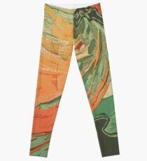 Loie Fuller Dance Watercolor Avocado Orange Burst Leggings