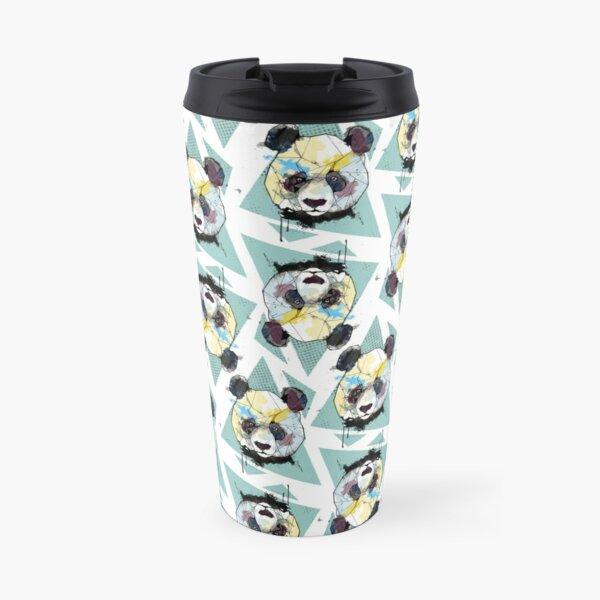 Geometric Watercolor Panda Pattern Travel Mug