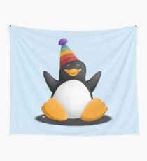 Happy Party Penguin Wall Tapestry