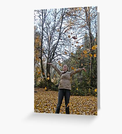 Tossing Leaves Greeting Card