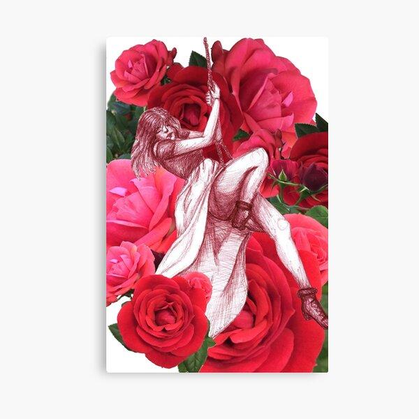 Pink Red Rose Pointilism Printed Brushed Leggings