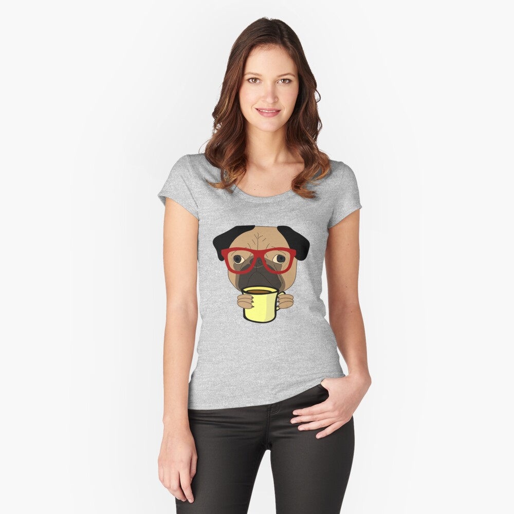 Funny Dog Pug Drinking Coffee / Cocoa Fitted Scoop T-Shirt