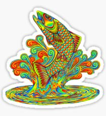 Psychedelic Rainbow Trout Fish Sticker