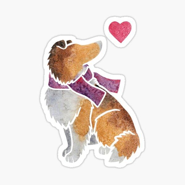 Watercolour Rough Collie Sticker