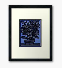 Sclavi Flowers Blue Black Framed Print