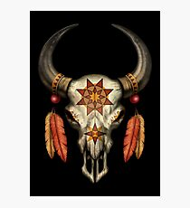 Decorated Native Bull Skull with Feathers Photographic Print